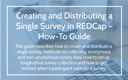 Creating and Distributing a Single Survey User Guide