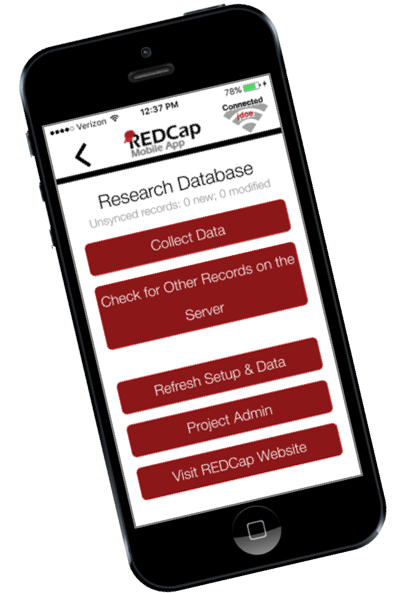REDCap Mobile App displayed on an iphone