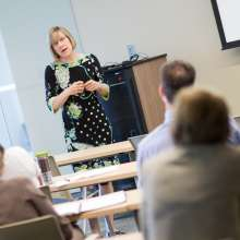 Dr. Hathornthwaite delivers the first lecture of the CTSI Mentoring Academy on June 19, 2013.