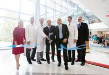 (Left to right) Carol Walker, David R. Nelson, M.D., David S. Guzick, M.D., Ph.D., U.S. Sen. Bill Nelson, Marco Pahor, M.D., Michael L. Good, M.D., and Michael G. Perri, during the ribbon-cutting ceremony for the CTRB opening.