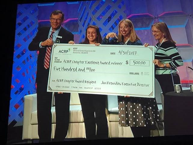 ACRP Executive Director Jim Kremidas presents a $500 check to North Central Florida chapter representatives Allison Trainor, Lee Ann Lawson and Judith Wishin on April 30 at the ACRP 2017 Meeting and Expo in Seattle.