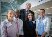 KL2 Scholars (left to right) Jennifer Fishe, MD; Henry Young, MD; Natalie Silver, MD, MS; and Kristianna Fredenberg, MD, PhD with Translational Workforce Development Program director Thomas Pearson, MD, PhD at CTSI Research Day in June 2018