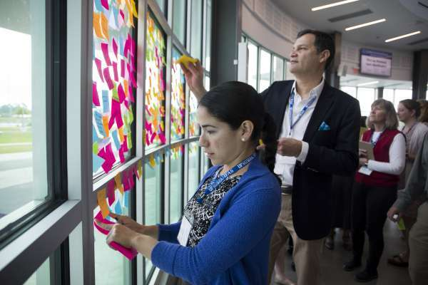 Members posting sticky notes on glass