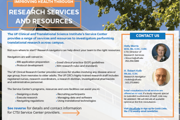 A preview image of the CTSI Services Center flyer