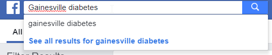 """Screenshot of a Facebook group search for """"Gainesville diabetes"""""""