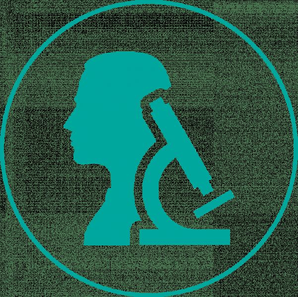 human and microscope icon