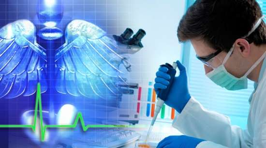 A man working in a lab with a caduceus symbol of medicine and a pulse line in a faded blue overlay in the foreground