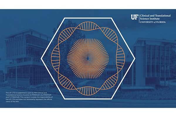 UF CTSI Zoom Background that is dark blue and orange