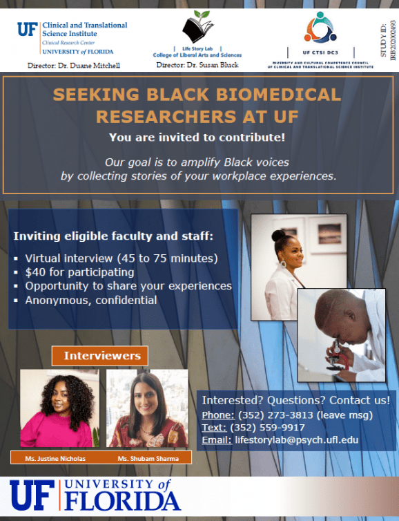 Black voices in research study flyer